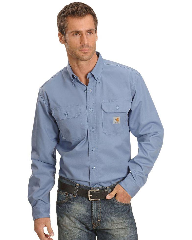 Carhartt Men's Solid FR Two-Pocket Long Sleeve Work Shirt - Big & Tall, Blue, hi-res
