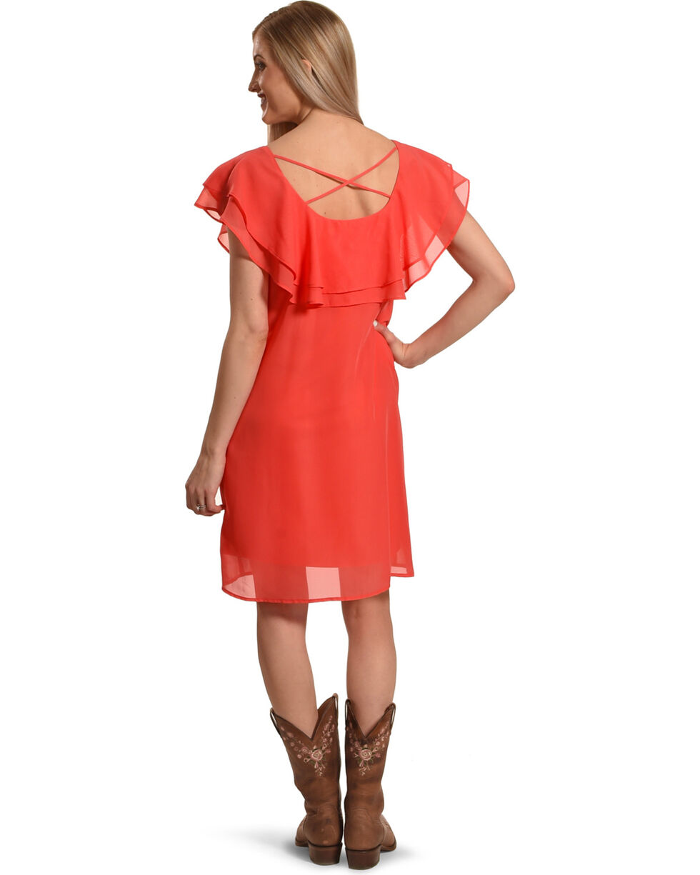 Harlow & Rose Women's Criss Cross Ruffle Dress , Coral, hi-res