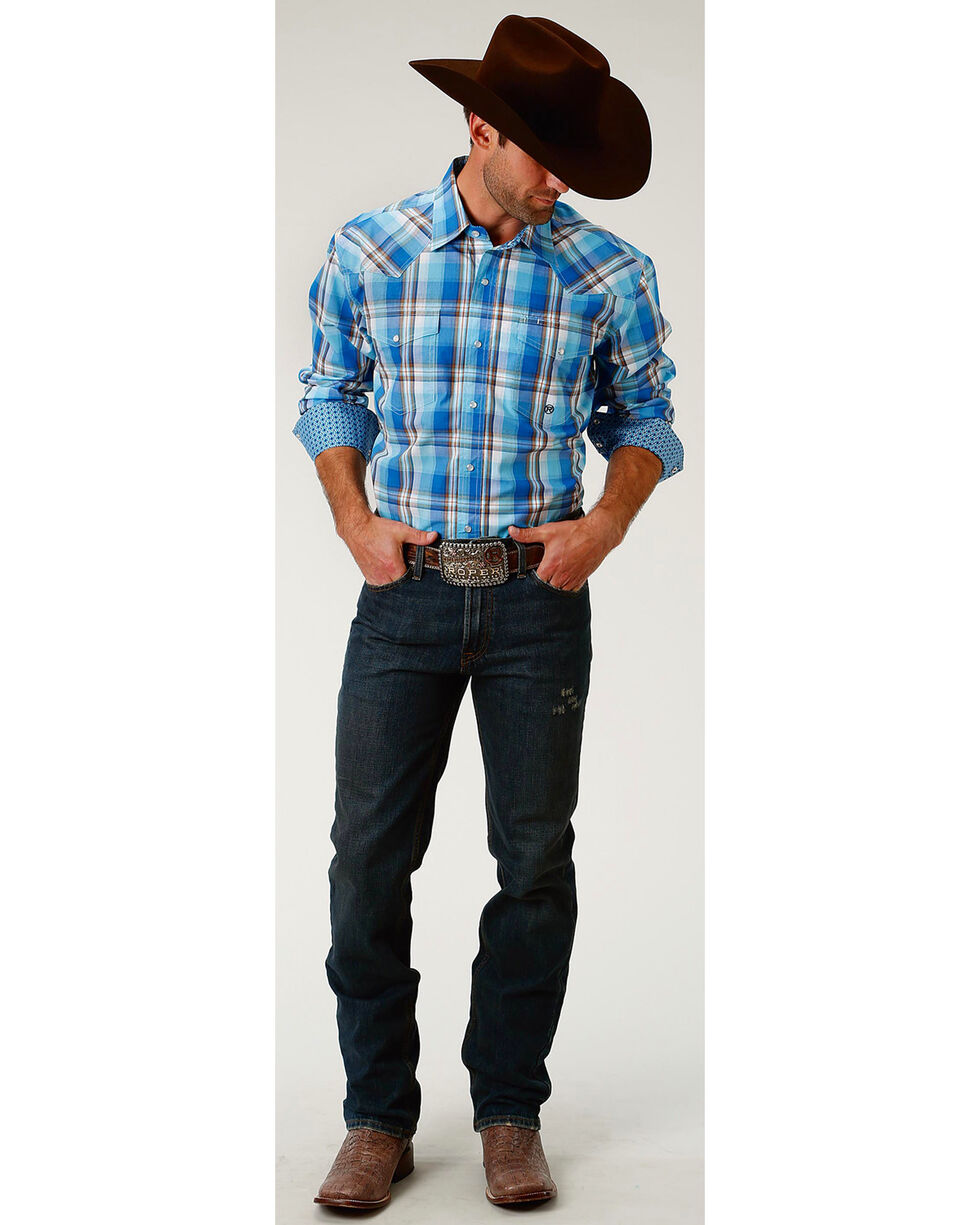 Roper Men's Blue Panes Plaid Long Sleeve Western Snap Shirt, Blue, hi-res