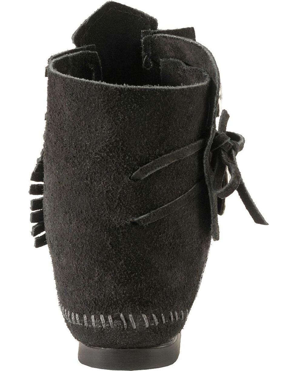 Minnetonka Ankle Moccasins, Black, hi-res