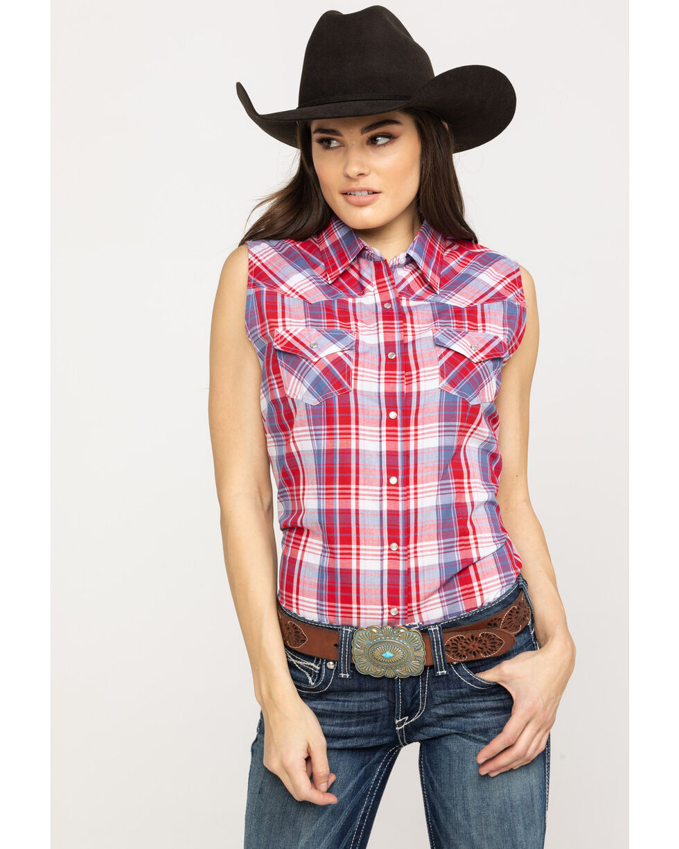 Cumberland Outfitters Women's Red Plaid Snap Sleeveless Western Shirt, Red, hi-res