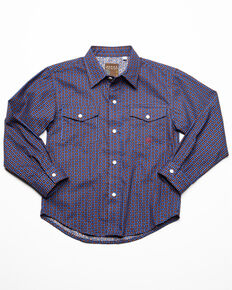 Roper Boys' Amarillo Geo Print Long Sleeve Western Shirt , Blue, hi-res