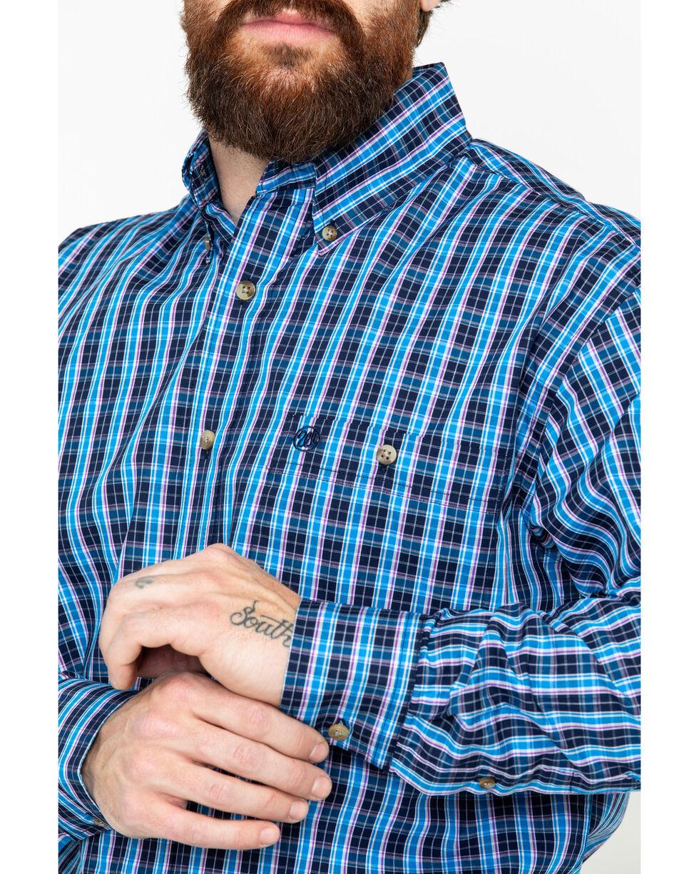Wrangler Men's Classic Plaid Long Sleeve Western Shirt, Navy, hi-res