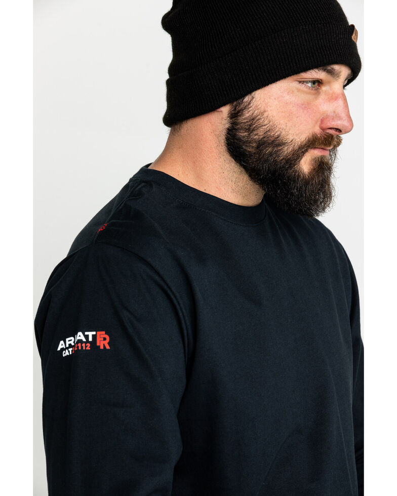 Ariat Men's FR Roughneck Skull Logo Crew Long Sleeve Work T-Shirt , Black, hi-res