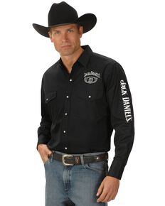 Jack Daniel's Men's Logo Rodeo Long Sleeve Western Shirt, Black, hi-res