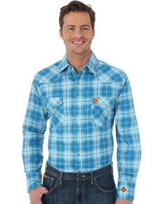 Wrangler 20X Men's Teal Flame Resistant Fashion Plaid Long Sleeve Work Shirt , Teal, hi-res