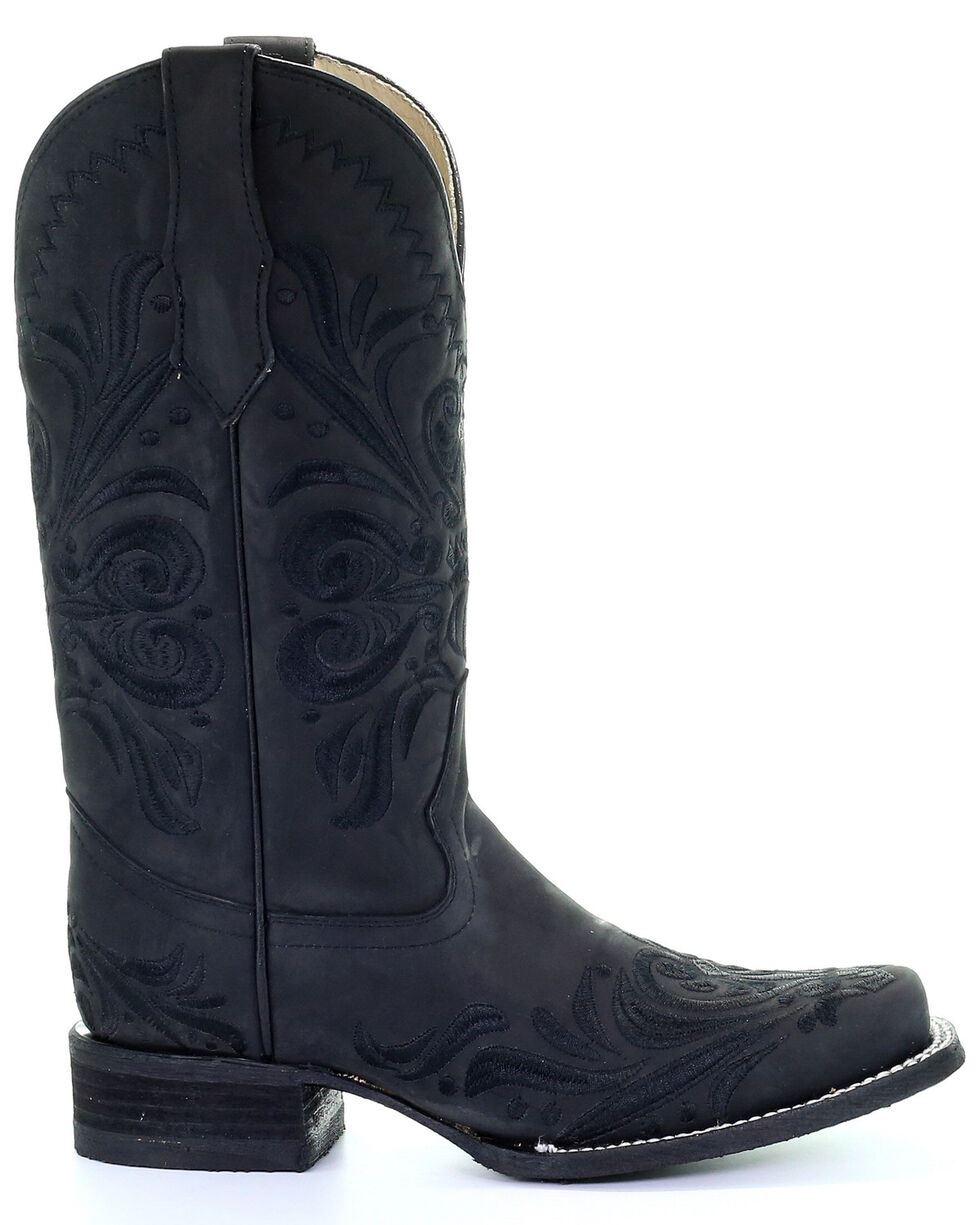 Corral Women's Black Embroidery Western Boots - Square Toe, , hi-res