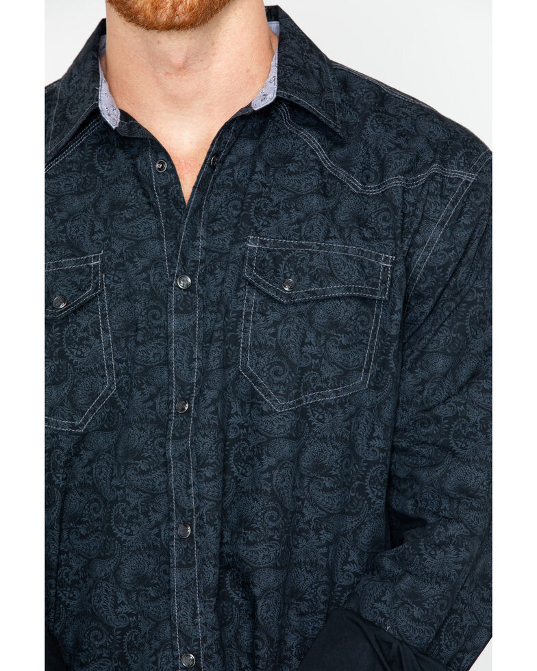 Moonshine Spirit Men's 200 Proof Paisley Print Long Sleeve Western Shirt, Black, hi-res