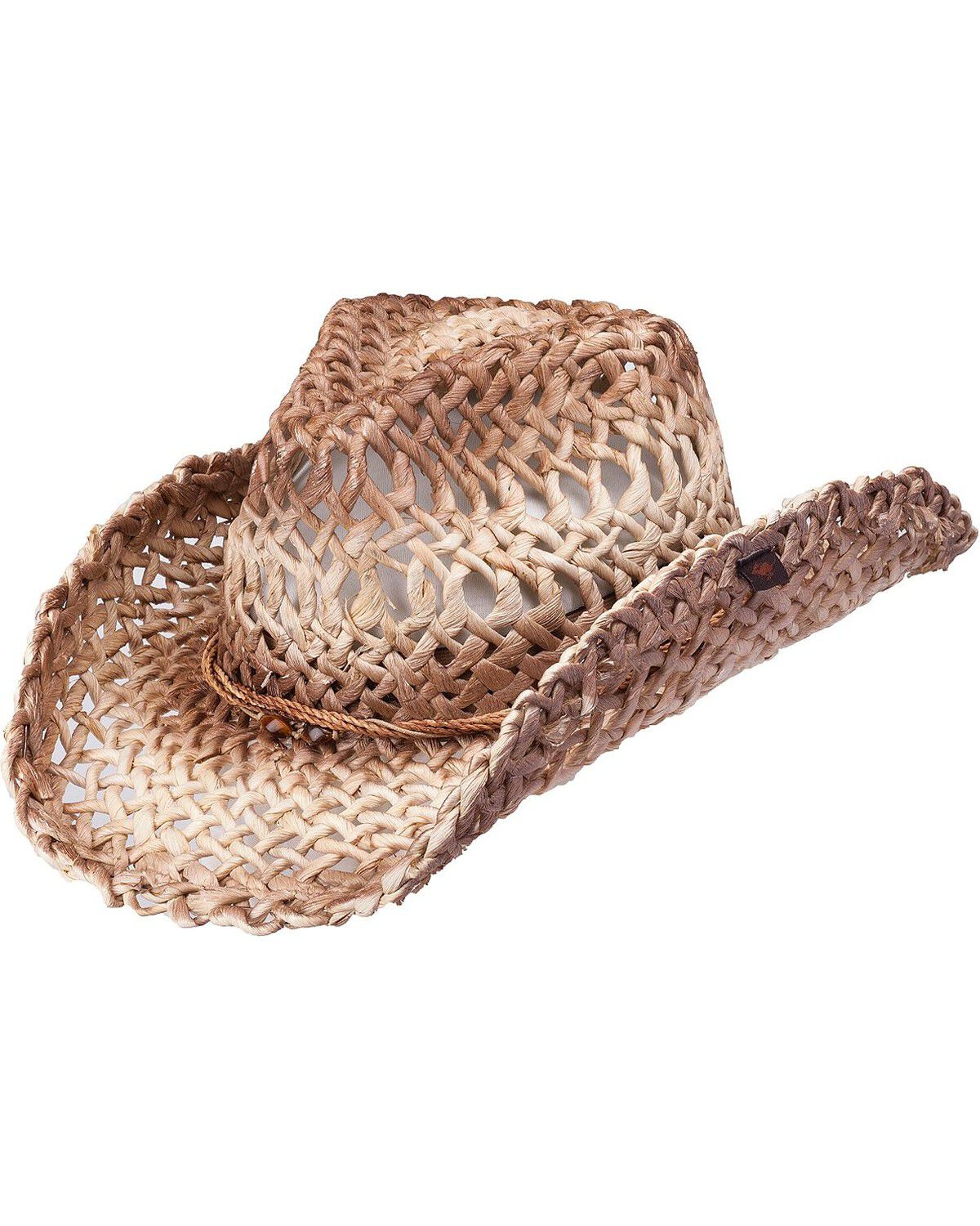 Peter Grimm Cash Studded Band Straw Cowgirl Hat Brown