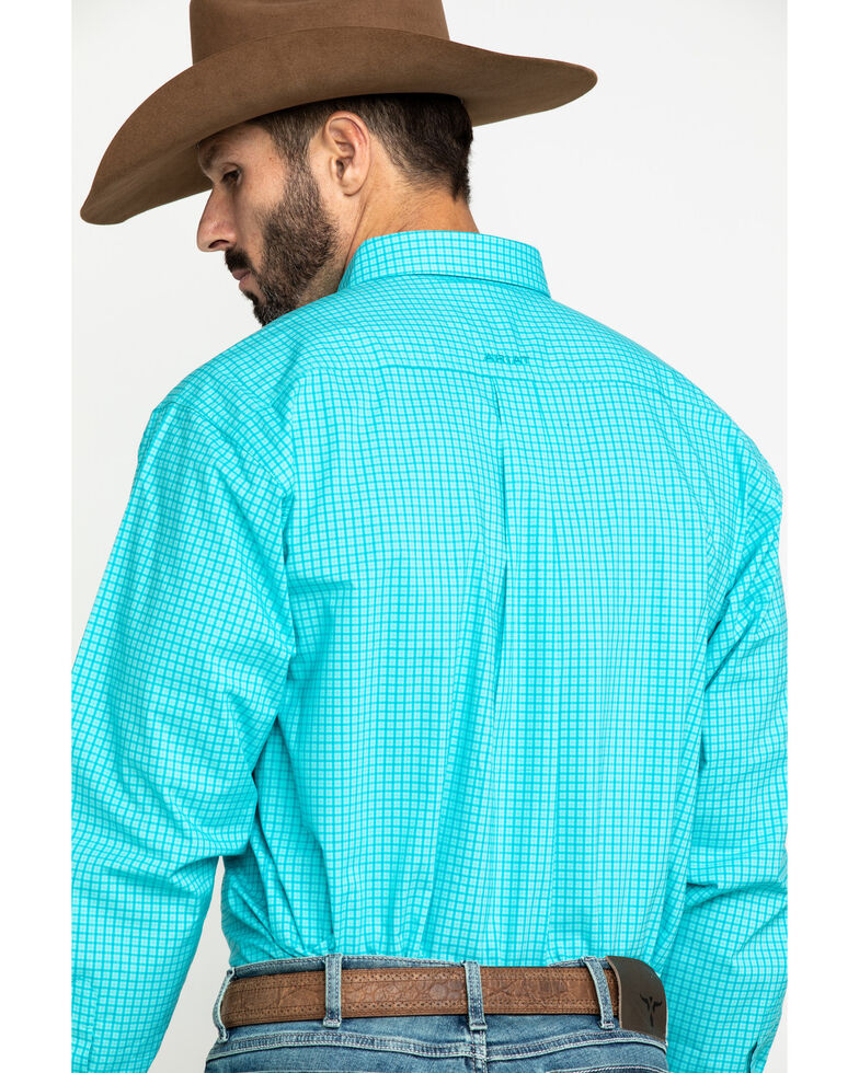 Ariat Men's Kernersville Plaid Long Sleeve Western Shirt - Big , Blue, hi-res