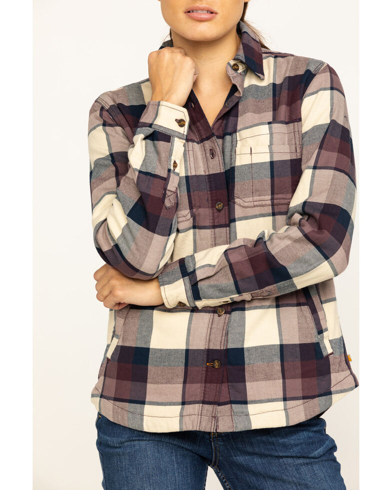 Carhartt Women's Rugged Flex Hamilton Fleece-Lined Flannel Work Shirt, Grey, hi-res