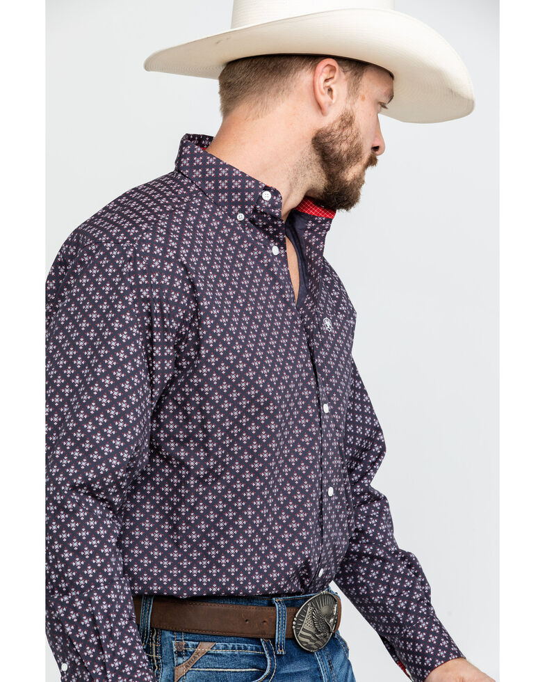 Ariat Men's Wrinkle Free Cleaves Geo Print Long Sleeve Western Shirt , Grey, hi-res