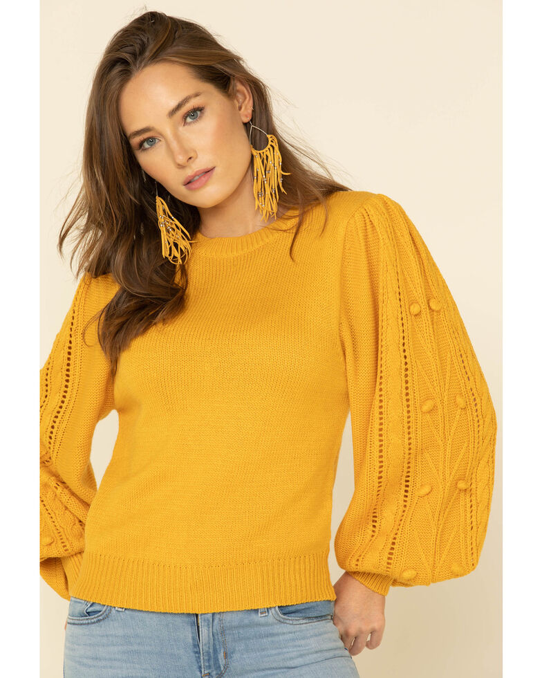 Flying Tomato Women's Textured Puff Sleeve Sweater , Mustard, hi-res