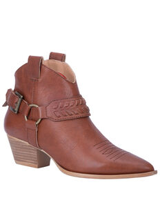 Dingo Women's Keepsake Fashion Booties - Snip Toe, Cognac, hi-res