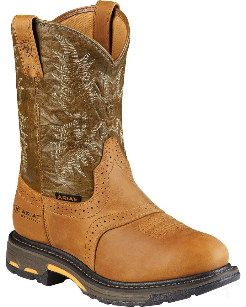 Ariat Men's Work-Hog Waterproof Composite Toe Work Boots, Aged Bark, hi-res