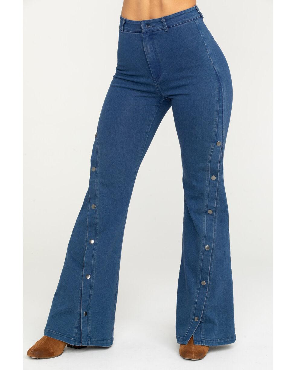 Flying Tomato Women's High-Waist Button Detail Flare Leg Jeans , Indigo, hi-res