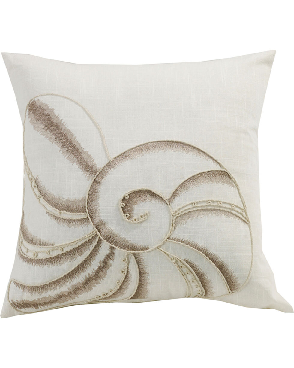 HiEnd Accents Newport Seashell Embroidery Pillow, Cream, hi-res