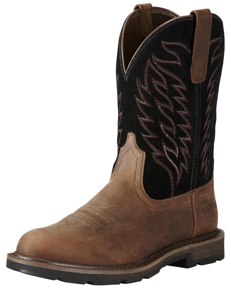 Ariat Men's Groundbreaker Pull-On Western Work Boots - Soft Toe, Brown, hi-res