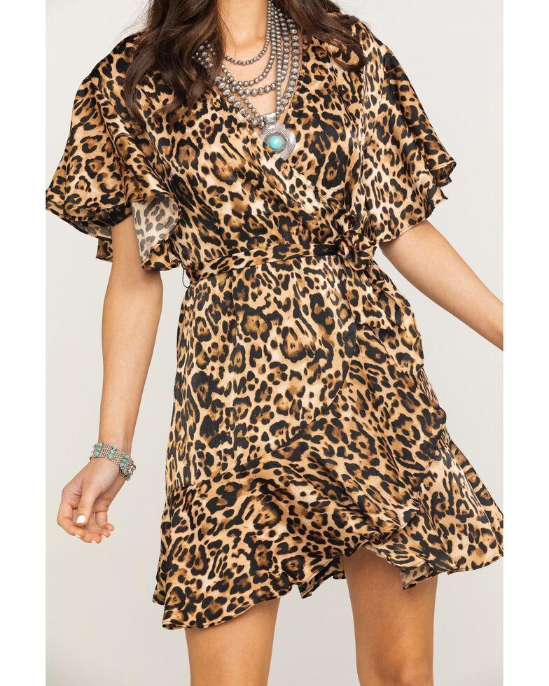 BB Dakota Women's Wild Card Satin Wrap Dress, Medium Brown, hi-res