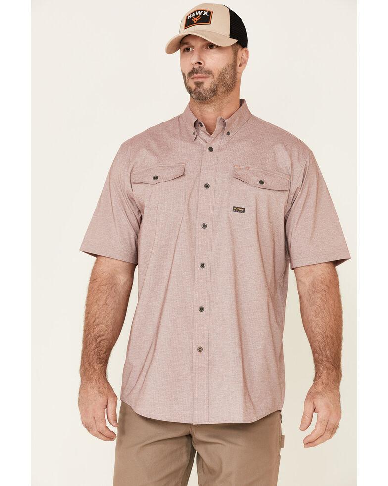 Ariat Men's Wine Rebar Made Tough VentTek Durastretch Short Sleeve Button-Down Work Shirt, Wine, hi-res