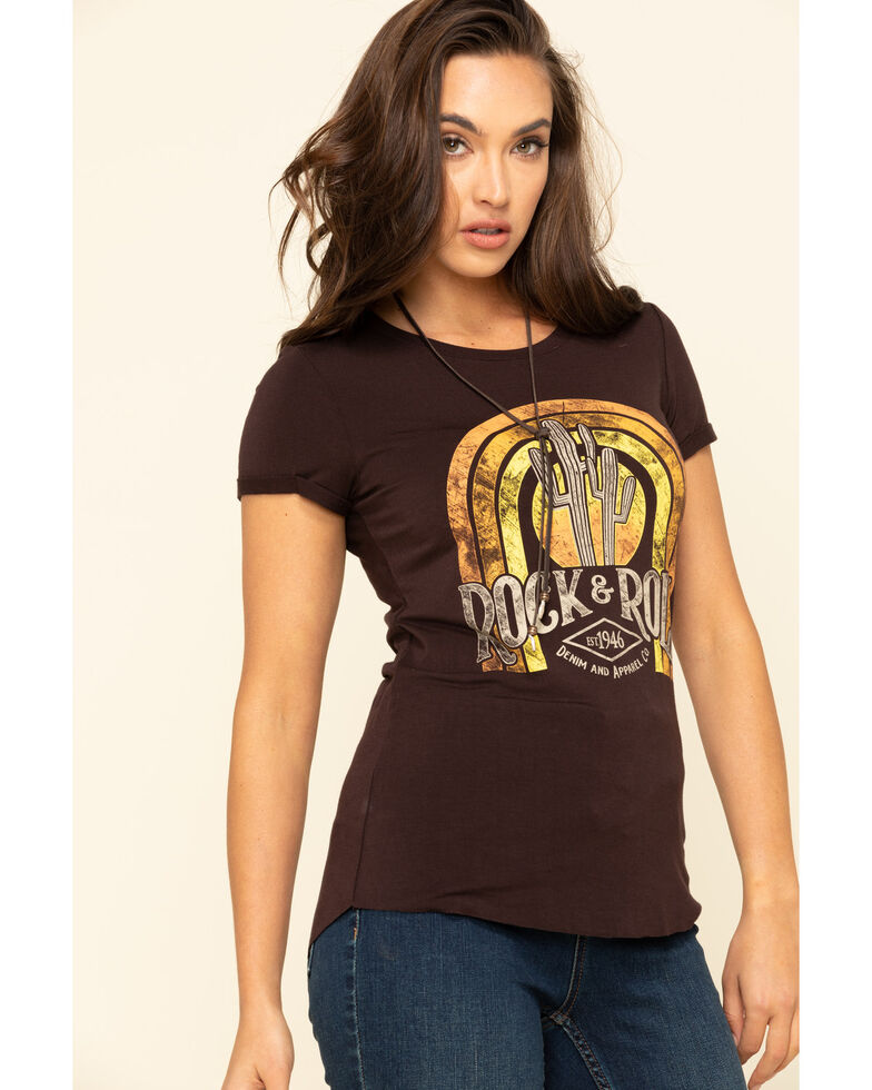 Rock & Roll Cowgirl Women's Brown Rainbow Logo T-Shirt, Brown, hi-res