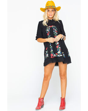 MI OH MI Women's Elbow Sleeve Floral Dress  , Black, hi-res