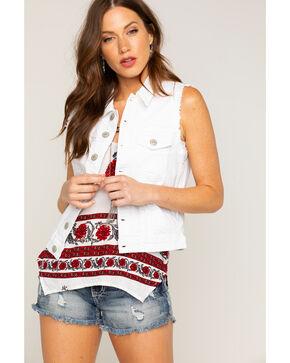 Shyanne® Women's Cutoff Denim Vest, White, hi-res