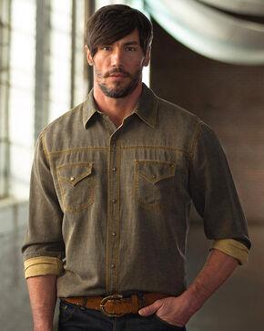 Ryan Michael Men's Straight Yoke Waffle Shirt, Brown, hi-res
