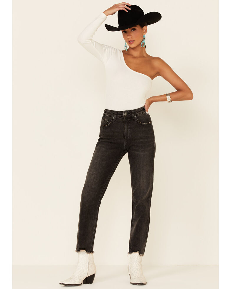 Panhandle Women's Grey High Rise Cropped Straight Jeans, Black, hi-res