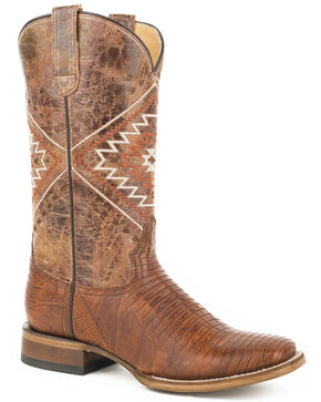 Roper Women's Brown Eroica Lizard Teju Boots - Square Toe, Brown, hi-res