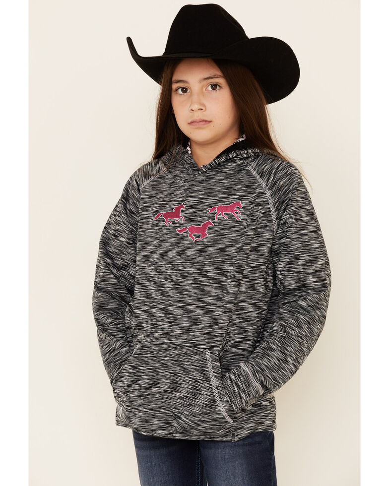 Cowgirl Hardware Girls' Black Marled Embroidered Horse Hooded Sweatshirt , Black, hi-res