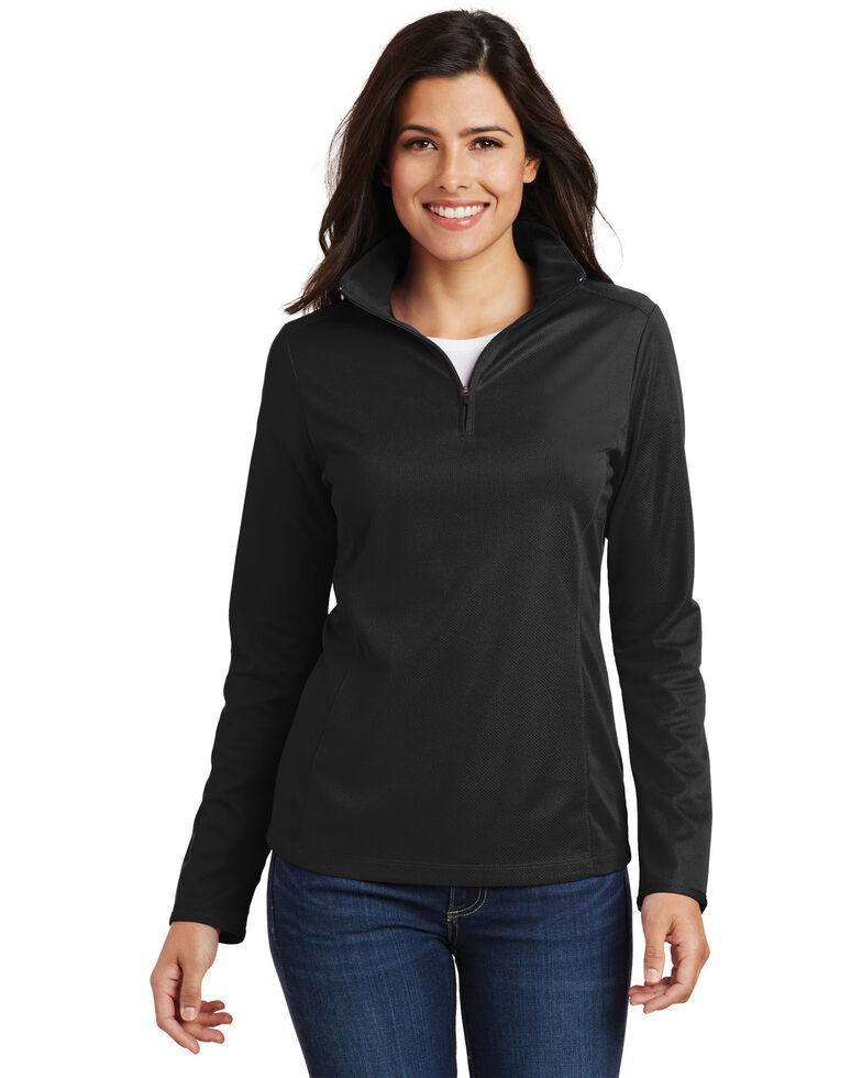 Port Authority Women's Black 3X Pinpoint Mesh 1/2 Mesh Pullover - Big, Black, hi-res