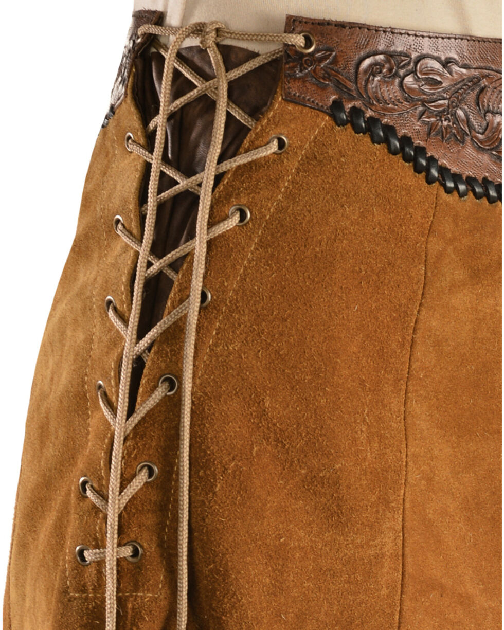 Kobler Leather Women's Choctaw Tooled Leather Lace-Up Suede Skirt, Cognac, hi-res