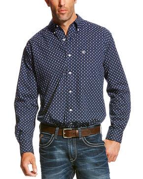 Ariat Men's Patterned Long Sleeve Shirt, Navy, hi-res
