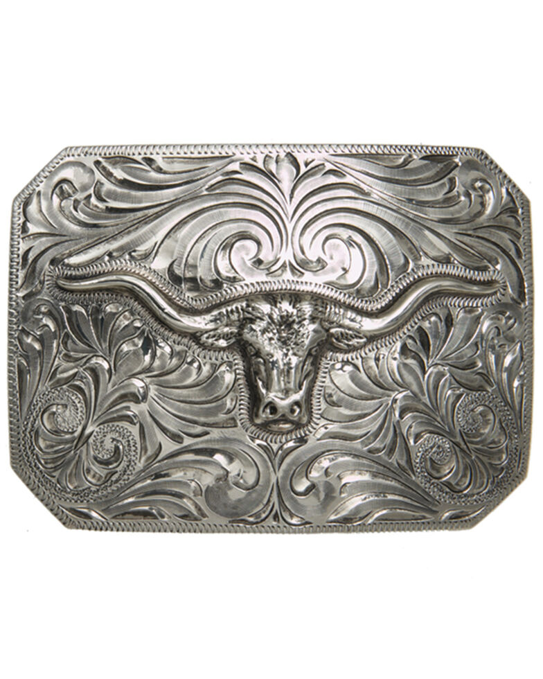 And West Antique Silver Longhorn Iconic Buckle, Silver, hi-res