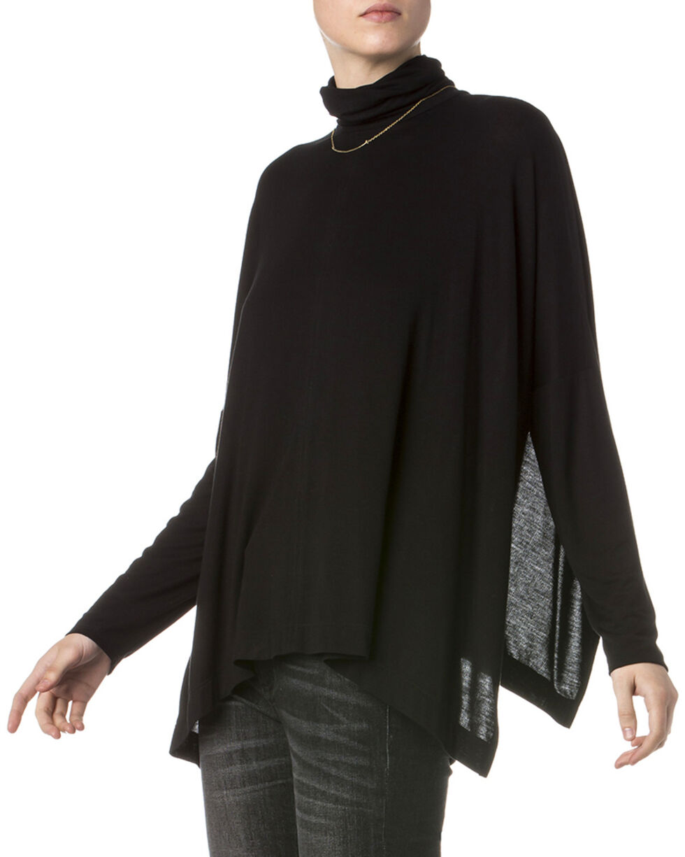 Miss Me Women's Black Drama Queen Turtleneck Top , Black, hi-res