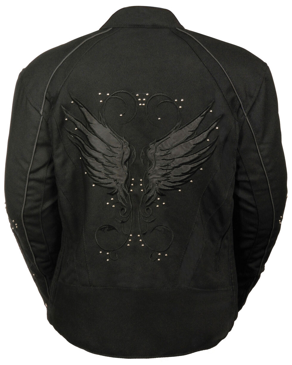 Milwaukee Leather Women's Textile Jacket w/ Stud & Wings Detailing, Black, hi-res