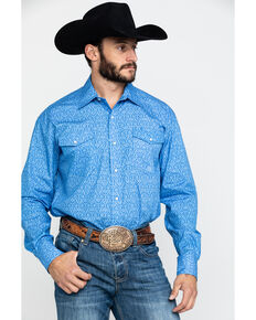 Roper Men's Amarillo Wallpaper Floral Print Long Sleeve Western Shirt , Blue, hi-res