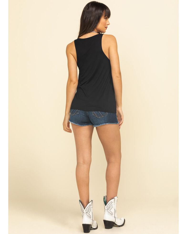 Shyanne Women's Dark Wash Sunrise Raw Hem Shorts, Blue, hi-res
