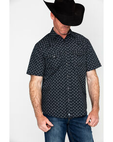 Cody James Men's Sandlot Aztec Print Short Sleeve Western Shirt , Black, hi-res