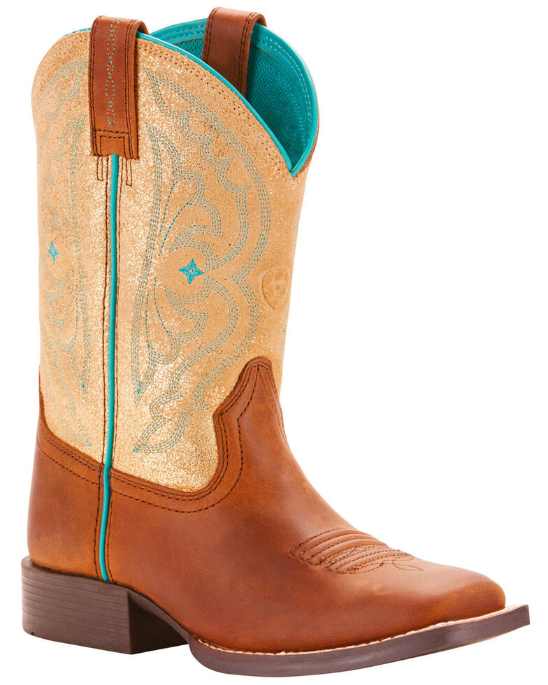Ariat Girls' Tan Quickdraw Boots - Square Toe , Tan, hi-res