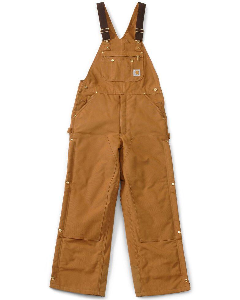 "Carhartt Lined Duck Bib Overalls - Reg, Big. Up to 50"" waist, Brown, hi-res"