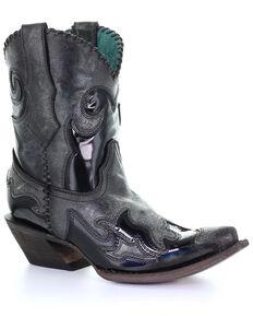 Corral Women's Black Inlay Western Boots - Snip Toe, Black, hi-res