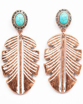 Shyanne Women's Wanderlust Large Copper Feather Earrings, Tan/copper, hi-res