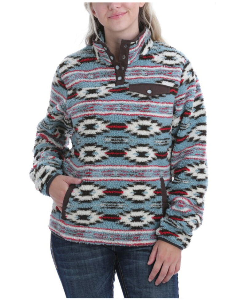 Cinch Women's Blue Aztec Printed Fleece Pullover, Multi, hi-res