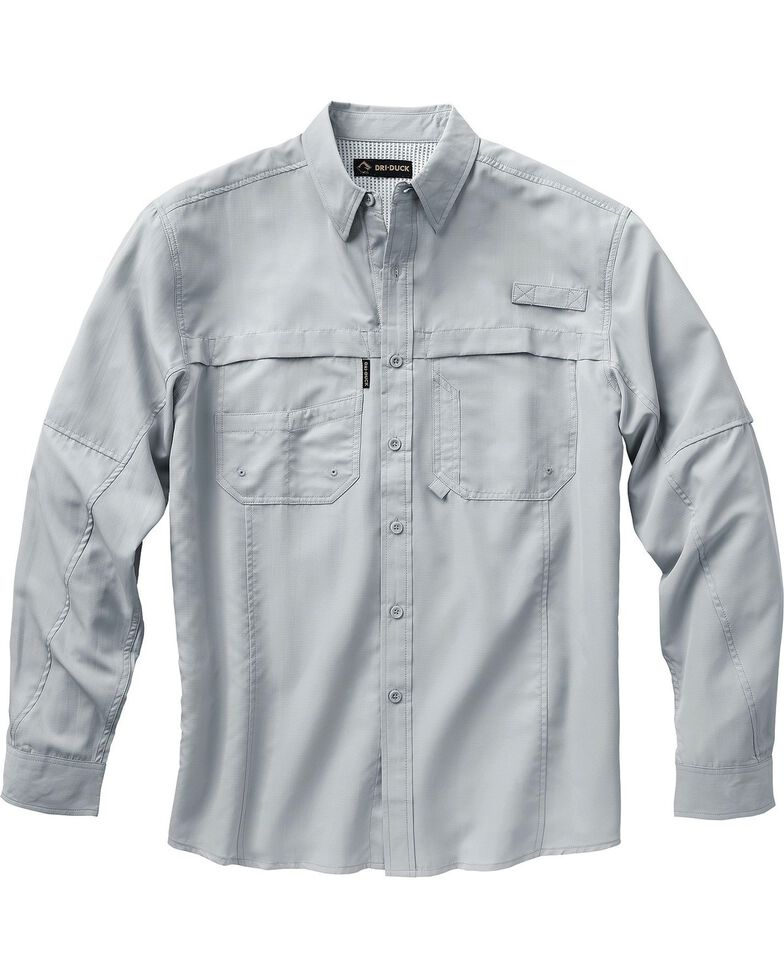 Dri Duck Men's Catch Long Sleeve Work Shirt - Big & Tall , Grey, hi-res