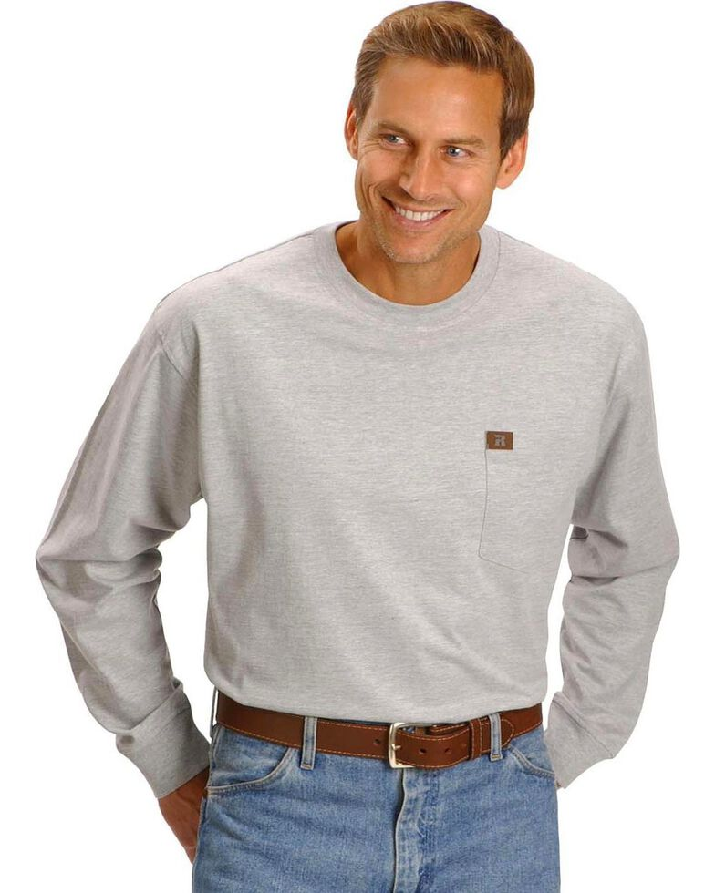 Riggs Workwear Men's Long Sleeve Pocket T-Shirt, Ash Heather, hi-res
