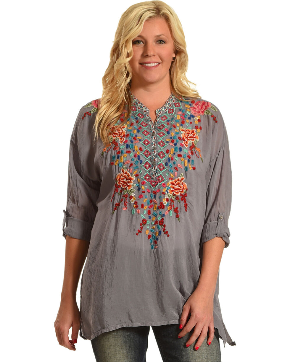 Johnny Was Women's Gemstone Blouse , Grey, hi-res