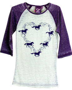 Cowgirl Hardware Toddler Girls' Horse Wreath Raglan Tee, Purple, hi-res
