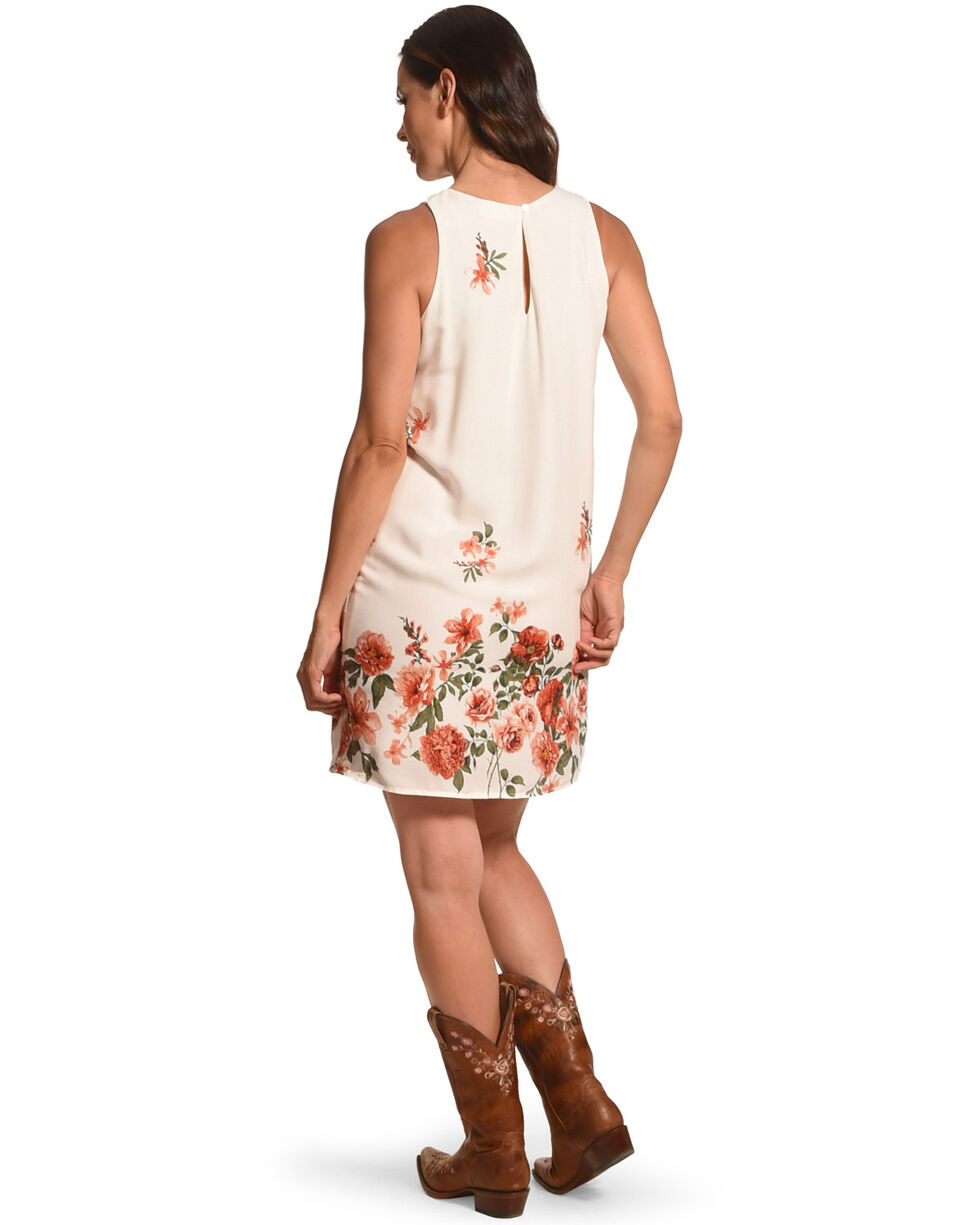 Ces Femme Women's White Floral Shift Dress, White, hi-res